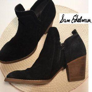 Sam Edelman Black Suede Booties Sz 8.5